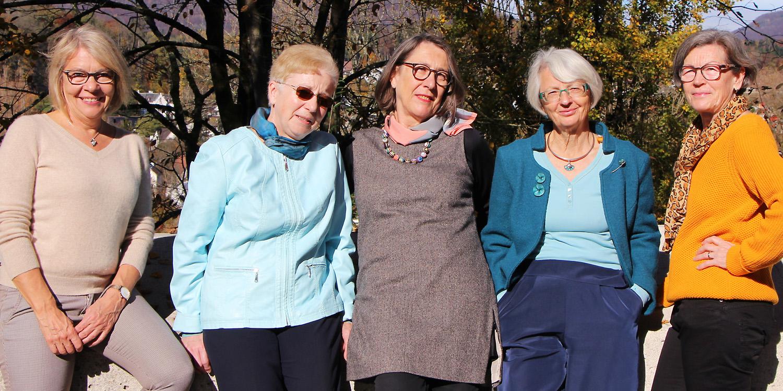 Vorstand der Aargauischen Evangelischen Frauenhilfe (AEF): Katrin Schmid, Christine Lehmann, Liselotte Käser-Felder, Ursa Dietiker, Elsbeth Gloor (von links, 2020)